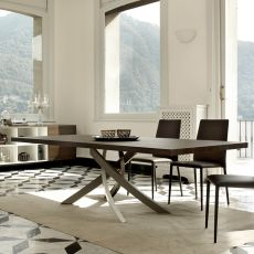 Artistico Wood - Design table Bontempi Casa, fixed 200x106 cm, with metal central base and wooden top, available in different colours