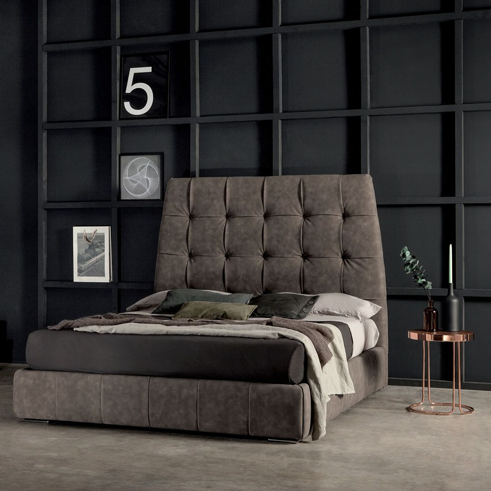 pacifico 7862 lit double rembourr tonin casa en diff rentes mesures aussi avec rangement. Black Bedroom Furniture Sets. Home Design Ideas