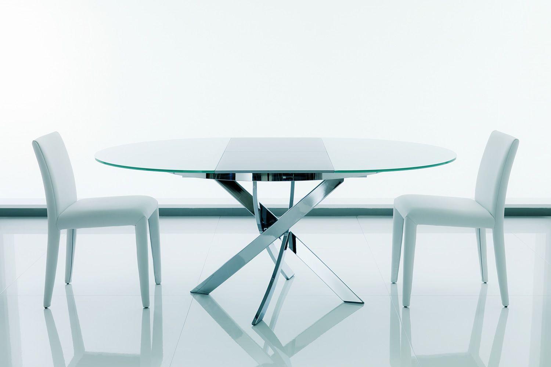 Barone ext tavolo rotondo di design di bontempi casa in for Tavoli soggiorno cristallo allungabili