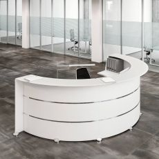 Reception Glass L - Banco per reception da ufficio in legno con decorazioni cromate, top in vetro