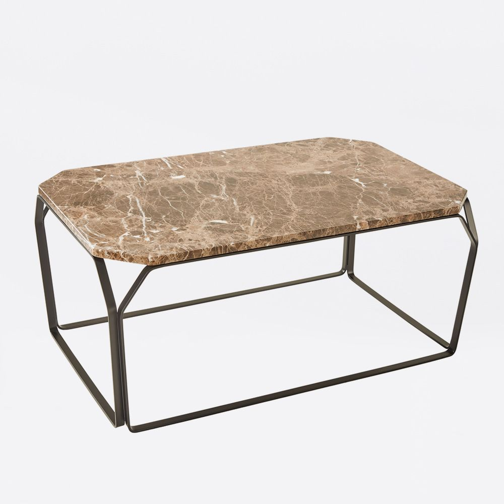 Marble Top Wire Coffee Table: Rectangular Coffee Table In Metal, With