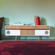 Skap X - Miniforms sideboard in wood, with four drawers and integrated loudspeakers