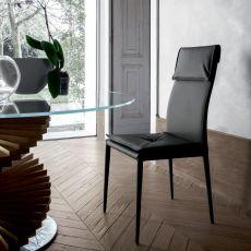 Adria 8041A - Sedia Tonin Casa completamente rivestita in pelle o similpelle, diversi colori disponibili