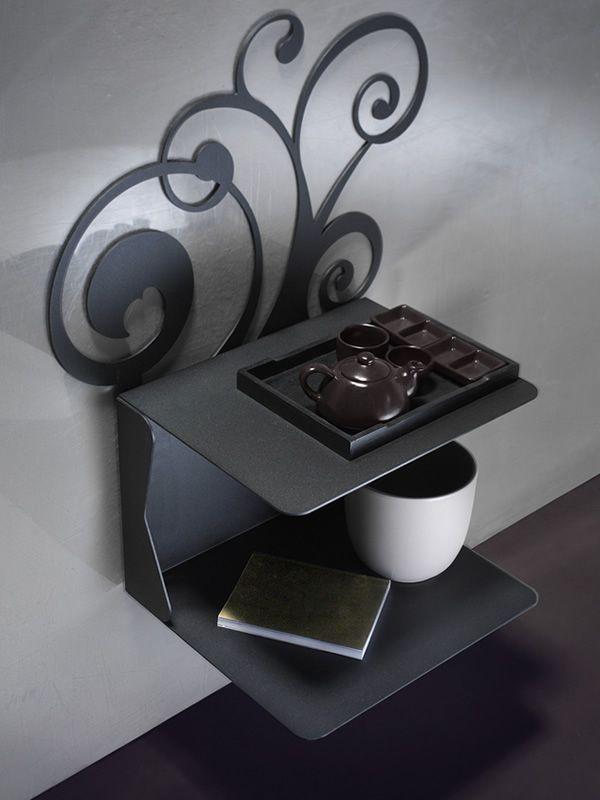 fleur c table de nuit suspendue en fer avec 2 tablettes. Black Bedroom Furniture Sets. Home Design Ideas