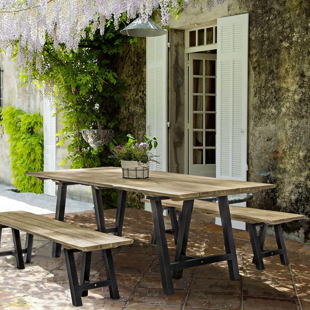 Paro tavolo in teak piano 220x100cm con bordi for Bordi per giardino