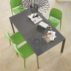 Phoenix Small 42.56 - Extendable table, 90 x 60 cm, in metal, with top in laminate or glass, available in different colours