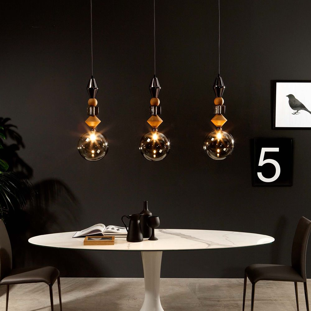 pandora lampe suspension tonin casa en verre et bois sediarreda. Black Bedroom Furniture Sets. Home Design Ideas