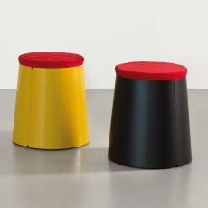 Bobino Pouf - Pouf e tavolino conico in metallo, con rotelle, piano in lamiera con cuscino, diversi colori disponibili