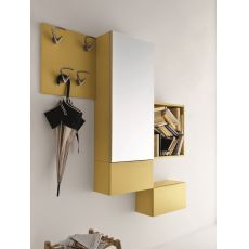 Cinquanta 2 - Entrance furniture with mirror and hangers, available in several colours