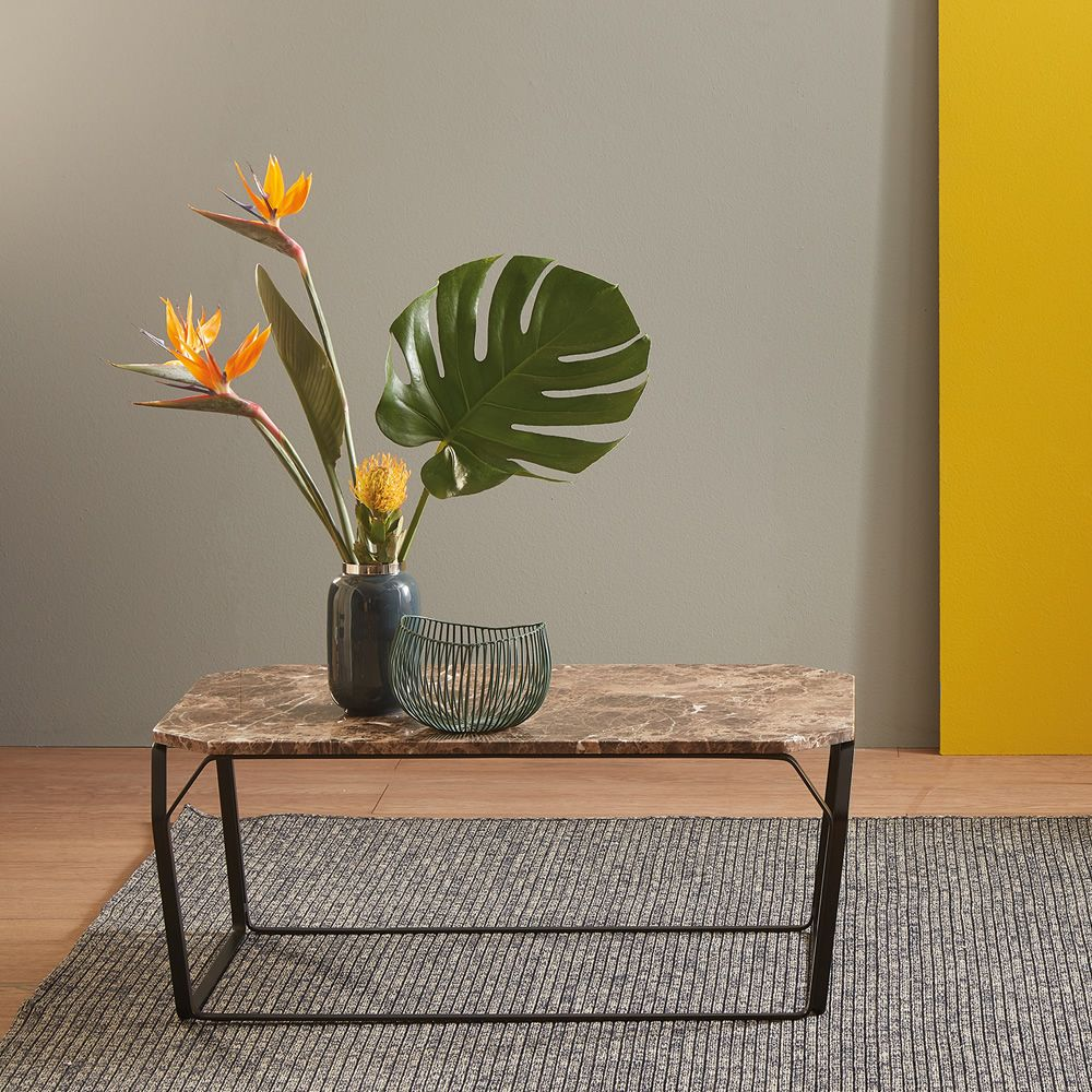 Tray 3 Marble Rectangular Coffee Table In Metal With Top In