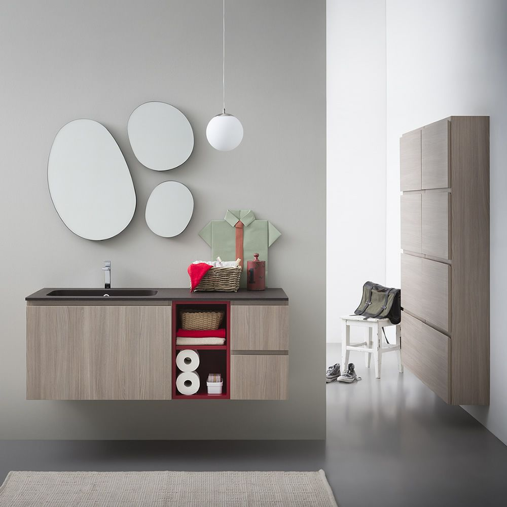 Lapis b meuble de salle de bain avec plan et vasque for Placard salle de bain miroir