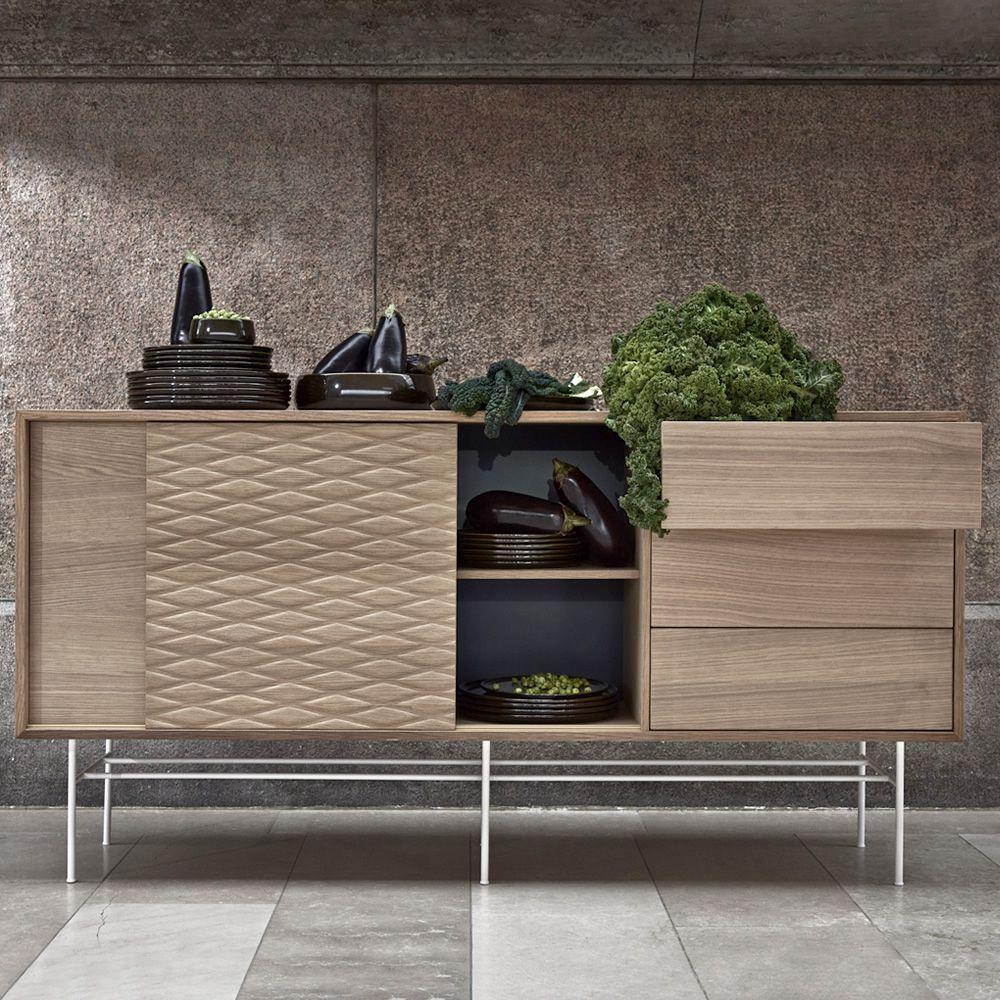 case anrichte aus holz und metall mit schiebet ren. Black Bedroom Furniture Sets. Home Design Ideas