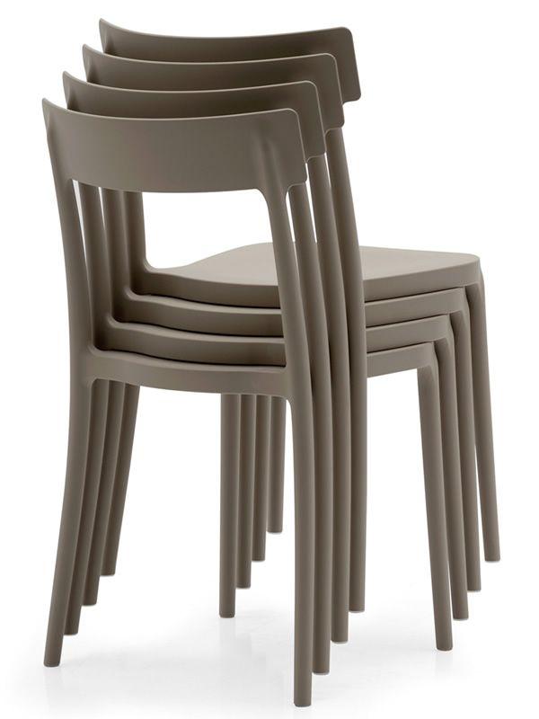 523 sedia impilabile in polipropilene disponibile in for Sedie design tortora