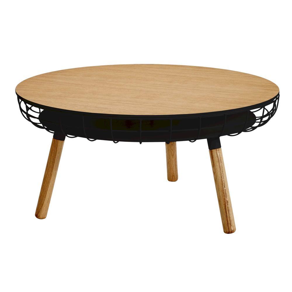 cesta beistelltisch aus holz und metall holzplatte mit. Black Bedroom Furniture Sets. Home Design Ideas