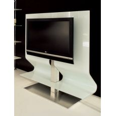 Odeon 7098 - Tonin Casa TV stand made of bent glass and stainless steel