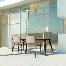 Oka T2 - Tavolo in alluminio, piano in teak 200x100 cm, anche per esterno
