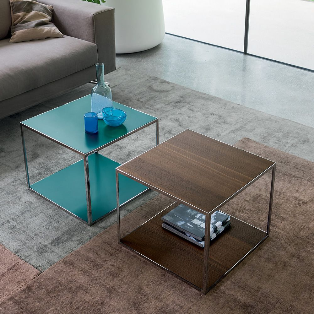 Pitagora tavolino quadrato dall 39 agnese in metallo e for Tavolini di design