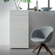 Slim-D - Commode haut Dall'Agnese en bois, disponible en différentes finitions, trois grands tiroirs et deux petits tiroirs