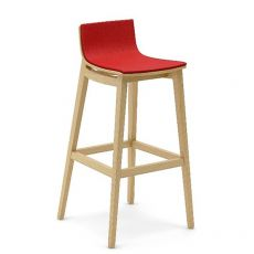 Emma Stool Up - Sgabello Infiniti in legno, seduta rivestita in tessuto, diversi colori, altezza seduta 65.5 o 75.5 cm