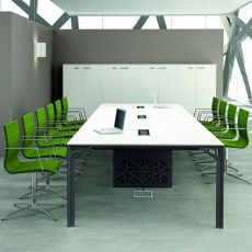 Office X8 Meet Large - Tavolo per sala riunioni in metallo e laminato, disponibile in diverse dimensioni e finiture