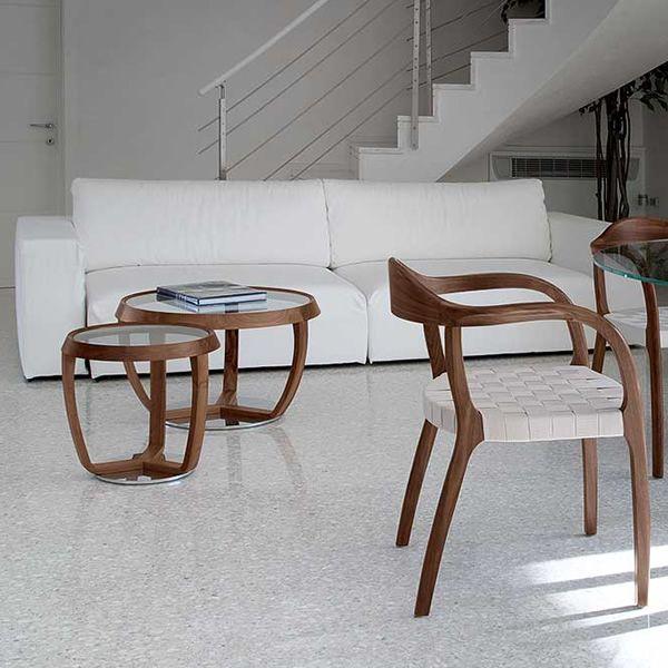 time small - tavolino da salotto tonon, con piano tondo in vetro ... - Tavolini Soggiorno Wenge 2
