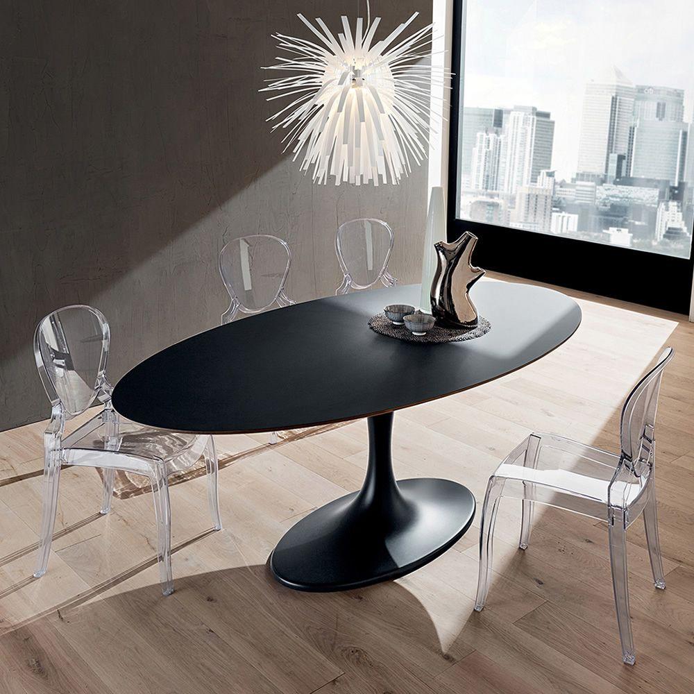 Pa133 tavolo in mineralmarmo con piano ovale 209x116 cm disponibile in diverse finiture - Tavolo con sedie diverse ...