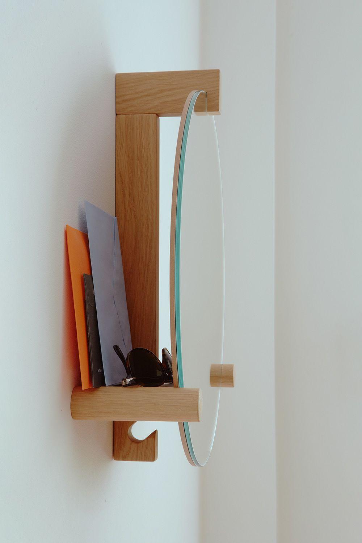 June specchio con gancio appendiabiti e mensola integrata in legno diversi colori - Appendiabiti con specchio ...