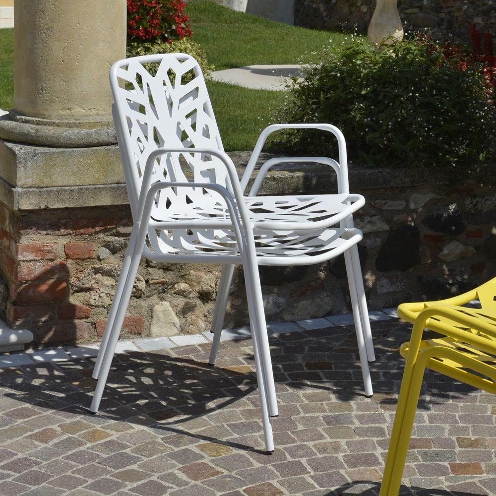 RIG71P - Sedia in metallo con braccioli, impilabile, diversi colori disponibi...