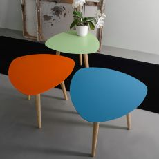 Nord1 - Small triangular wooden design table, with laquared metal top, available in different colors