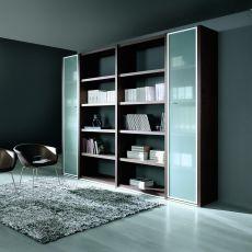 Libreria 02 - Libreria per ufficio altezza 215 cm, con con 5 ripiani e due ante in vetro, in laminato disponibile in diverse finiture