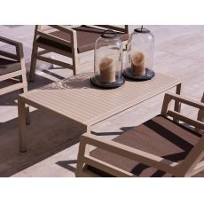 Aria T - Polypropylene low table, 60x60 or 100x60cm, available in several colours, for garden