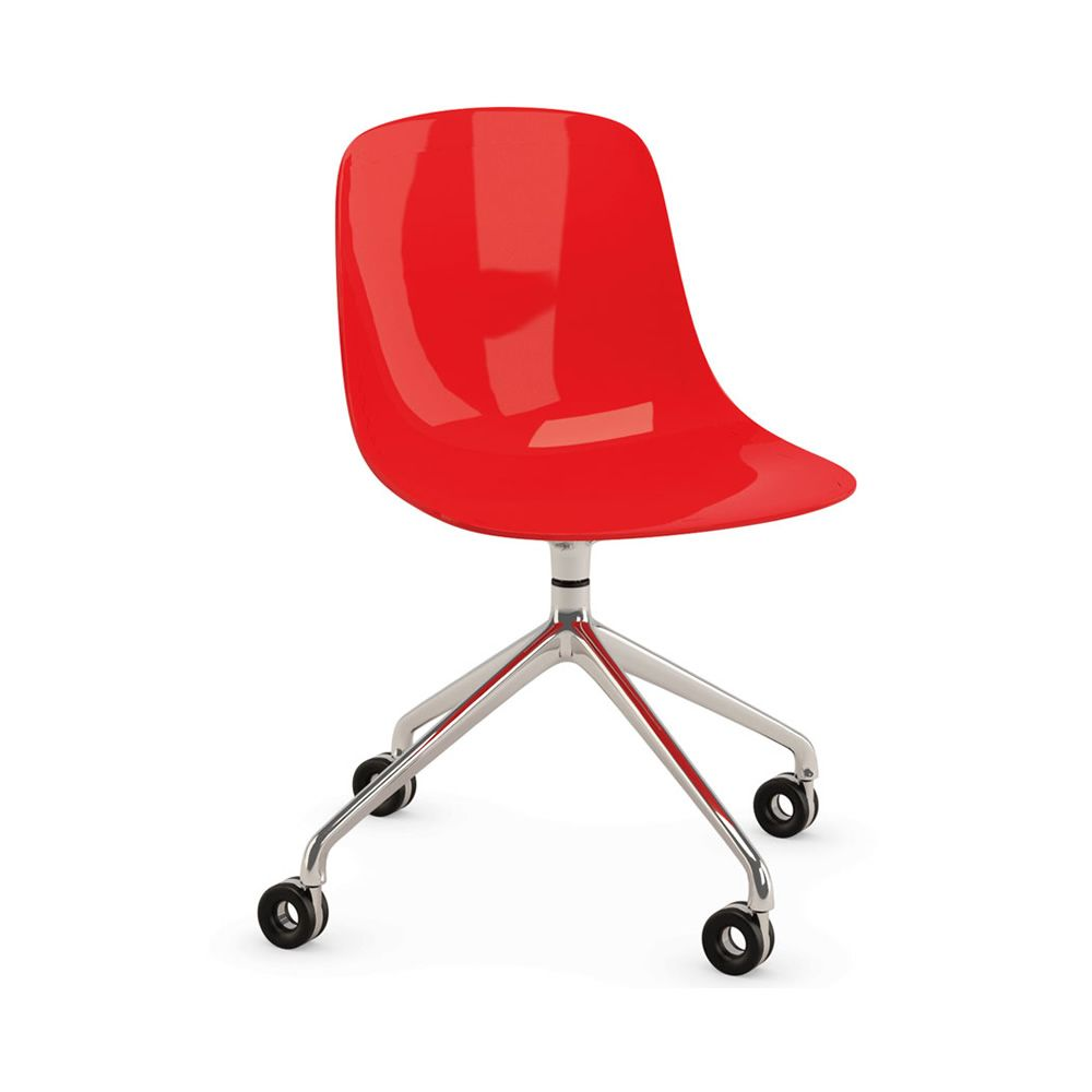 Pure Loop R   Swivel Chair In Aluminium And Red Polycarbonate, ...