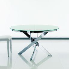 Barone Ext - Table design ronde de Bontempi Casa, à rallonge, diamètre de 125 cm, comportant un piétement central en métal et un plateau en verre, disponible en différentes finitions