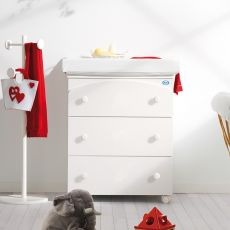 Tris - Pali changing table-baby bath, with 3 drawers, in several colours