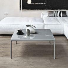 Diagonal Q - Tavolino di desing Bontempi Casa, con struttura in metallo e piano in vetro, diversi colori e finiture disponibili