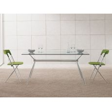 Brioso - Midj fixed metal table, glass top, different sizes