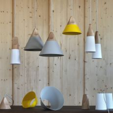 Slope S - Miniforms suspension lamp, in wood and metal, available in different dimensions