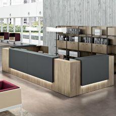 Reception Z2 - Banco per reception da ufficio in legno con mensole in legno