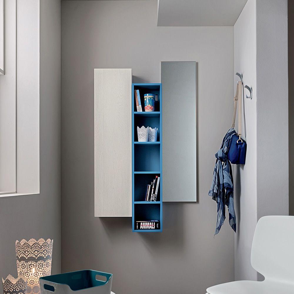 Pa634 mobile ingresso con specchio libreria a giorno e pensile disponibili in diversi colori - Mobile d ingresso ...