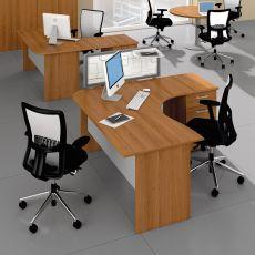 Mega Panel 01 - Scrivania per ufficio con penisola e cassettiera, in laminato, disponibile in diverse dimensioni e finiture