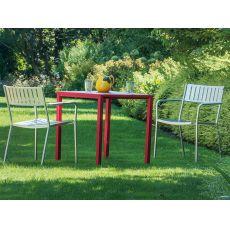 Jolly - Tavolo Emu in metallo, impilabile, piano quadrato in diverse misure, per giardino