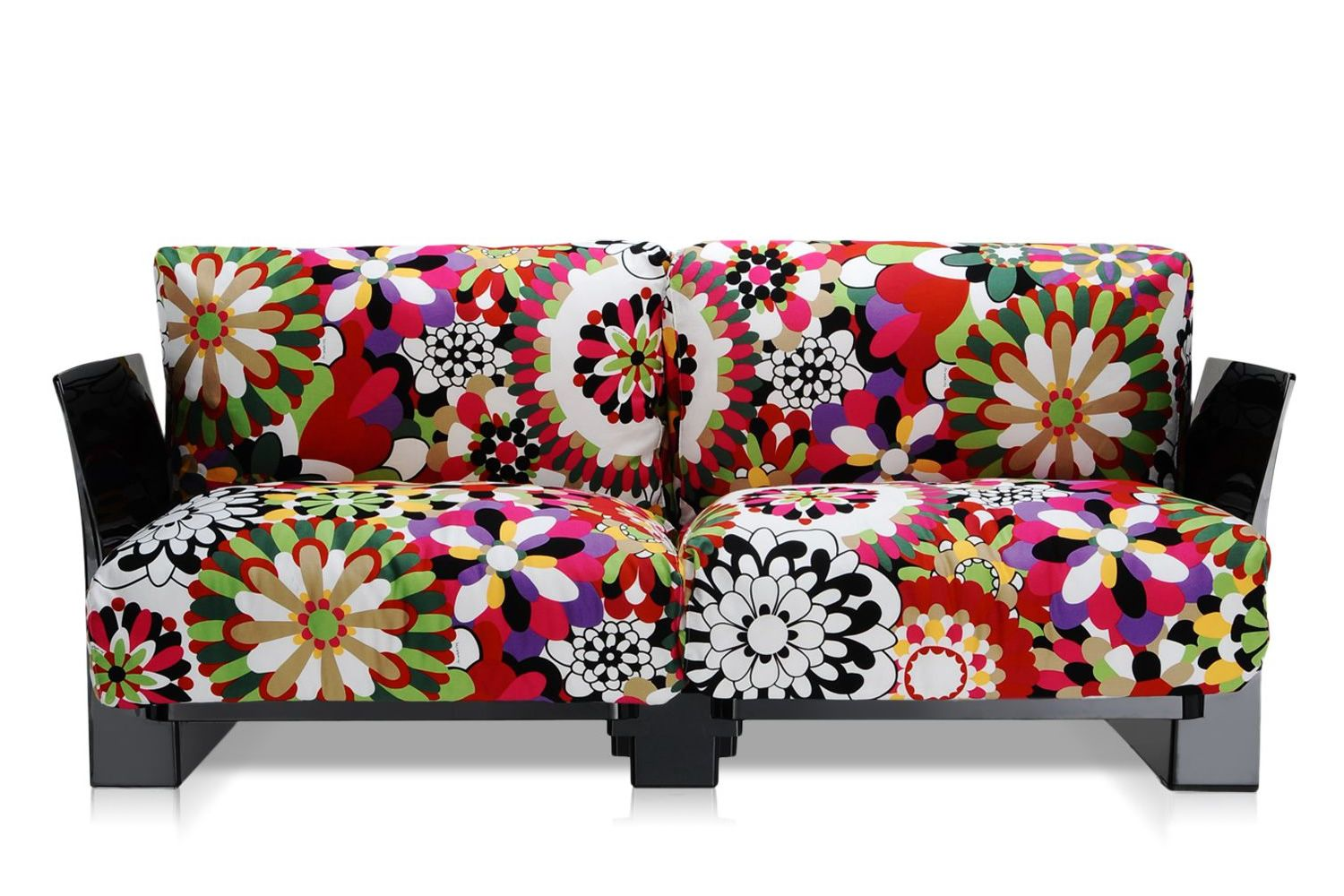 Pop Missoni Sofa 2 Seater With Black Polycarbonate Structure And Cushions Covered In Red