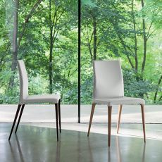 Iole - Dall'Agnese wooden chair, seat covered with imitation leather, different colours available