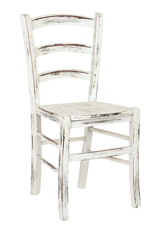 110 scratch sedia rustica in legno laccato bianco con - Tavoli e sedie per ristoranti usati ...