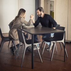 Dueperdue - Infiniti fixed metal table, top in wood, Fenix® or Microtopping, different sizes available