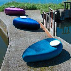 R*ck - Pouf di design Adrenalina, con tavolino, disponibile in diversi tessuti di molti colori