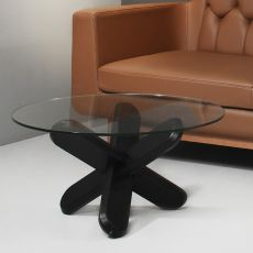 Ding - Normann Copenhagen round coffee table in wood with glass top, diameter 75 cm