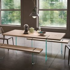 Agazia T - Fixed design table, 160x90 cm, with glass legs, top in different materials and finishes