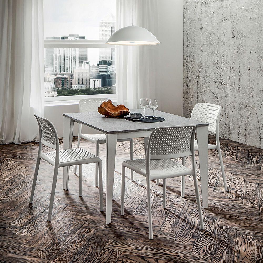 Pa132 tavolo allungabile in metallo piano 100x100 cm for Tavolo 100x100 allungabile
