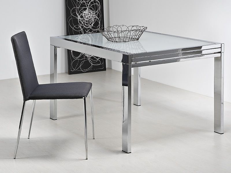 Vr90 tavolo allungabile in metallo con piano in vetro 90 for Piano tavolo vetro
